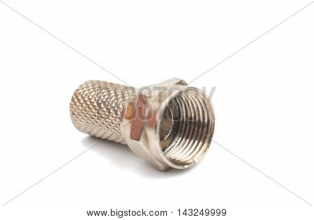 gilded television connectors on a white background