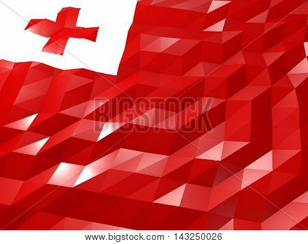 Flag Of Tonga 3D Wallpaper Illustration
