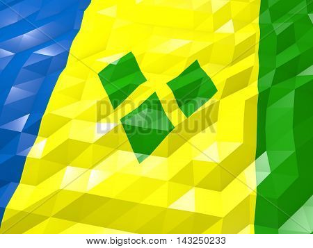 Flag Of Saint Vincent And The Grenadines 3D Wallpaper Illustration