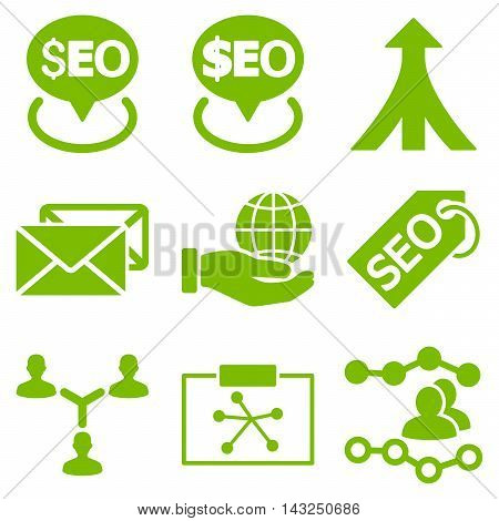 Seo vector icons. Pictogram style is eco green flat icons with rounded angles on a white background.