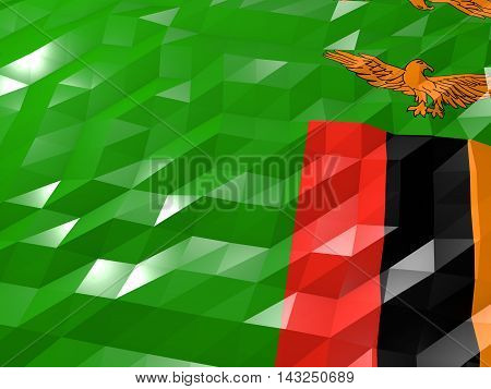 Flag Of Zambia 3D Wallpaper Illustration