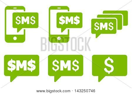 SMS Messages vector icons. Pictogram style is eco green flat icons with rounded angles on a white background.
