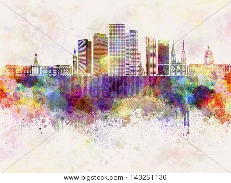 Denver V2 skyline artistic abstract in watercolor background