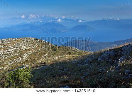 Amazing  view of Mountain of Lefkada and sea, Ionian Islands, Greece