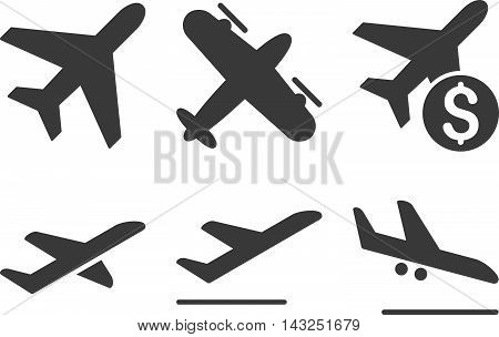 Aviation vector icons. Pictogram style is gray flat icons with rounded angles on a white background.