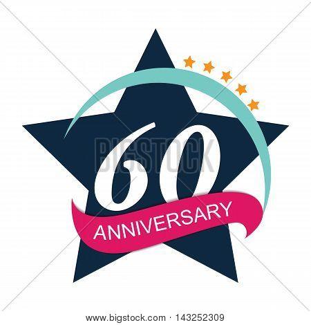 Template Logo 60 Anniversary Vector Illustration EPS10