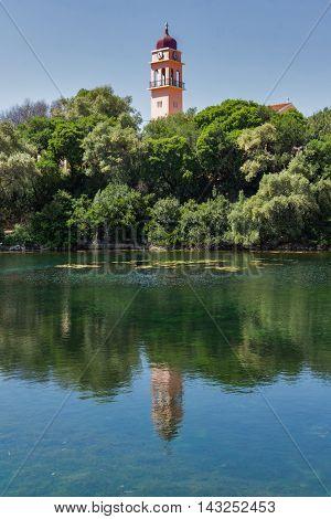 Amazing landscape of karavomilos lake, Kefalonia, Ionian islands, Greece