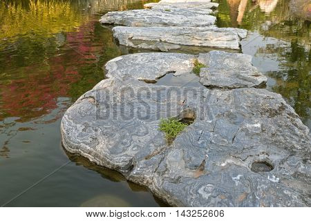 Huge natural step stone path way to walk on water pond garden at the park in afternoon