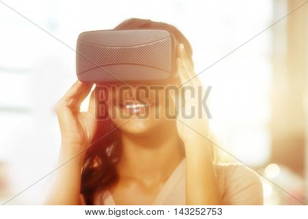 Businesswoman using virtual 3d glasses in office