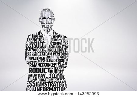 Businessman in buzzwords against grey background