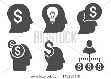 Businessman Idea vector icons. Pictogram style is gray flat icons with rounded angles on a white background.