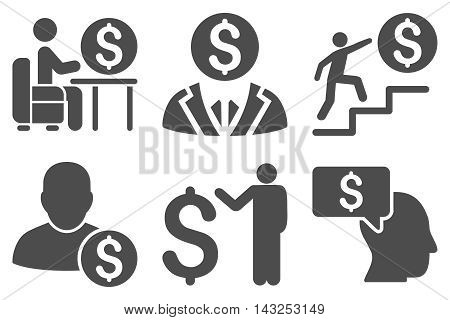 Businessman vector icons. Pictogram style is gray flat icons with rounded angles on a white background.