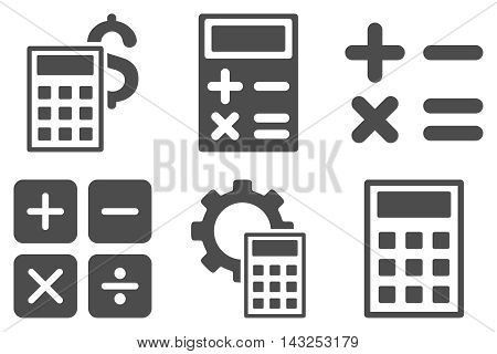 Calculator vector icons. Pictogram style is gray flat icons with rounded angles on a white background.