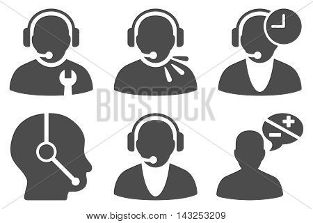 Call Center Operator vector icons. Pictogram style is gray flat icons with rounded angles on a white background.