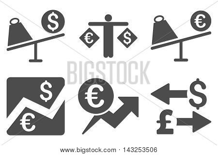 Currency Trading vector icons. Pictogram style is gray flat icons with rounded angles on a white background.