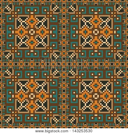 Seamless pattern background in orange, green, brown and yellow colors. Vector illustrations. Use this pattern in the design of carpet, shawl, pillow, textile, wrapping paper, wallpaper, ceramic tiles