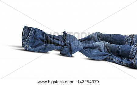 Blue jeans tied to node isolated on white background. With clipping path