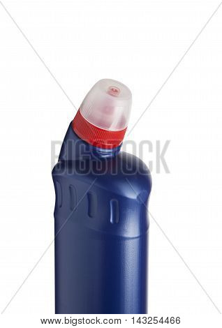 Blue plastic bottle for liquid laundry detergent cleaning agent bleach or fabric softener. With clipping path