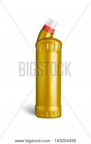 Yellow plastic bottle for liquid laundry detergent cleaning agent bleach or fabric softener. With clipping path
