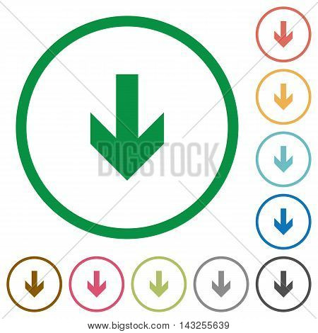Set of down arrow color round outlined flat icons on white background