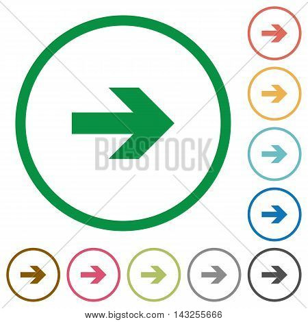 Set of right arrow color round outlined flat icons on white background