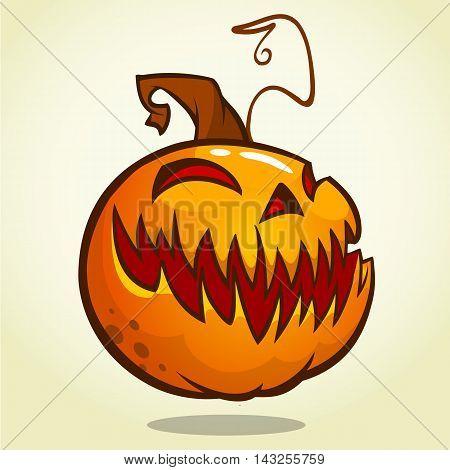 Halloween Pumpkin isolated on white. Scary Jack. Vector illustration