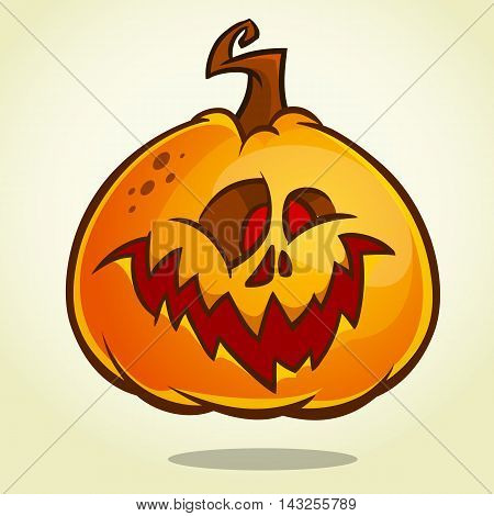 Cartoon pumpkin head with an evil expression on his face. Vector Halloween ilustration isolated
