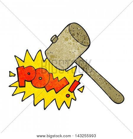 freehand drawn texture cartoon wooden mallet