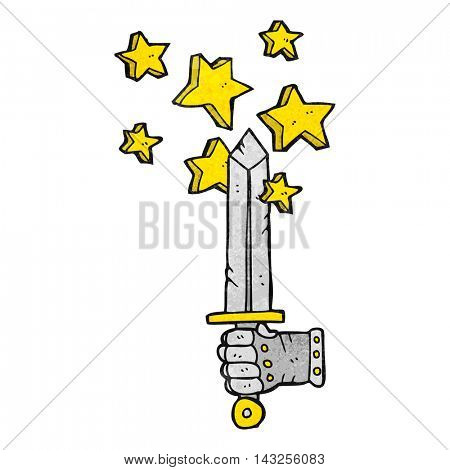 freehand drawn texture cartoon hand holding magic sword