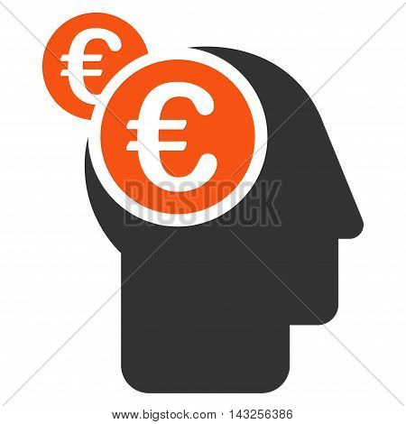 Euro Businessman Intellect icon. Glyph style is bicolor flat iconic symbol with rounded angles, orange and gray colors, white background.