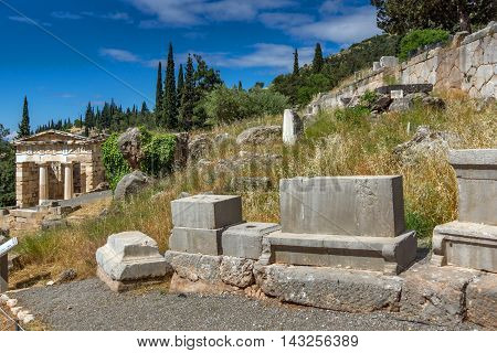 View of the Athenian Treasury in Ancient Greek archaeological site of Delphi,Central Greece