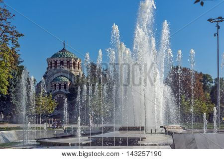 Fountain in the center of City of Pleven and St. George the Conqueror Chapel Mausoleum, Bulgaria
