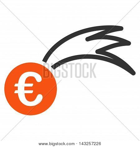 Euro Falling Meteor icon. Glyph style is bicolor flat iconic symbol with rounded angles, orange and gray colors, white background.