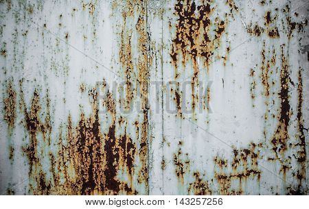 Texture Of Rusty Metal With Peeling Paint.