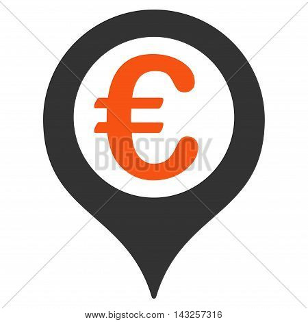 Euro Geotargeting icon. Glyph style is bicolor flat iconic symbol with rounded angles, orange and gray colors, white background.