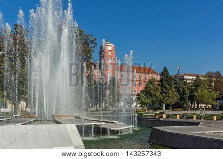 Town Hall and Fountain in the center of City of Pleven, Bulgaria
