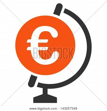 Euro Globe icon. Glyph style is bicolor flat iconic symbol with rounded angles, orange and gray colors, white background.
