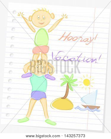 Cartoon flat illustration happy boys on a background of paper vacations hooray