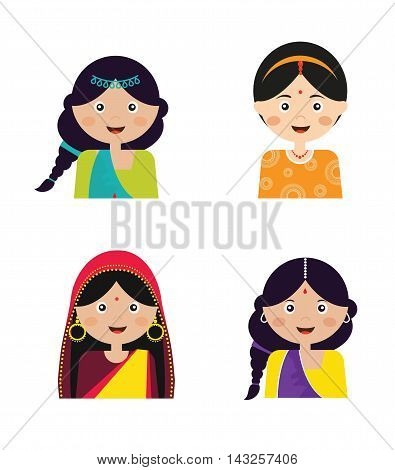 Illustration of the face of an Indian girls in colorful sari, vector illustration