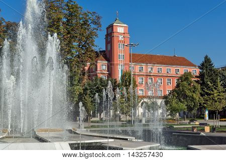 Panoramic view of Town Hall and Fountain in the center of City of Pleven, Bulgaria