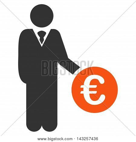 Euro Investor icon. Glyph style is bicolor flat iconic symbol with rounded angles, orange and gray colors, white background.