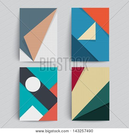 Set of backgrounds with trendy material design. Applicable for Covers, Placards, Posters, Flyers and Banner Designs. A4 format, eps10 vector templates.