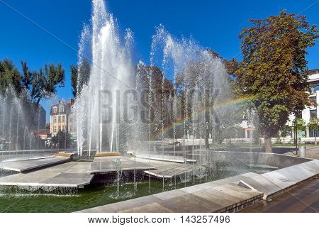 Amazing view of Fountain and rainbow in the center of City of Pleven, Bulgaria