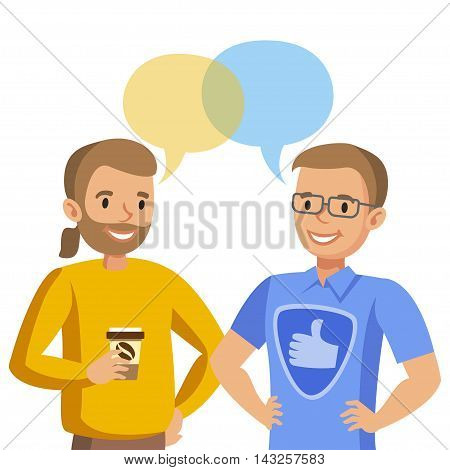 Two man talking. Talk of friends or colleagues. Vector illustration