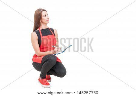 Hypermarket Saleswoman Doing Inventory