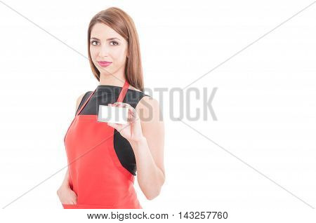 Pretty Employee Showing Empty Business Card