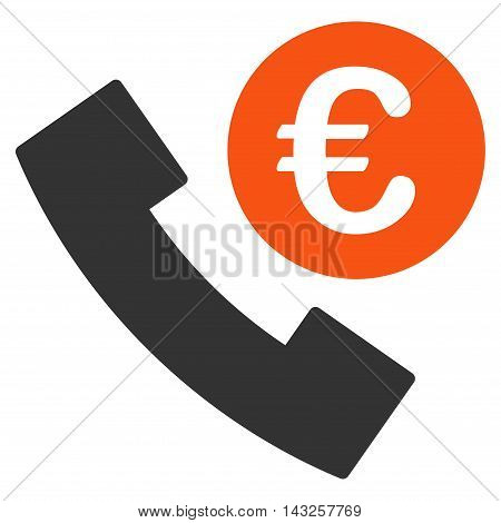 Euro Phone Order icon. Glyph style is bicolor flat iconic symbol with rounded angles, orange and gray colors, white background.