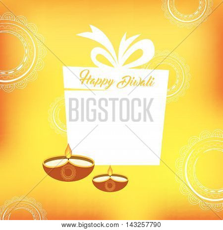 Yellow color vector card design for Diwali festival with beautiful lamps and present. vector illustration