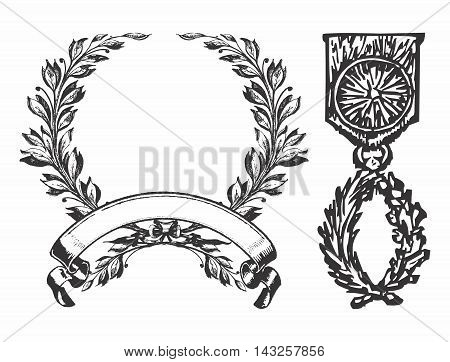 Vector Vintage Monochrome Pixelated Military Medal of Hornor and Fame Decor isolated on white background