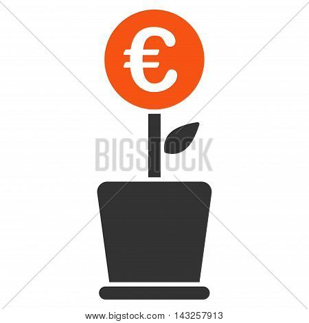 Euro Project Pot icon. Glyph style is bicolor flat iconic symbol with rounded angles, orange and gray colors, white background.